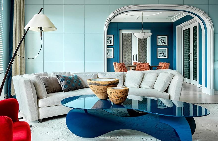 Alexander Bezvushko | Moscow Apartment , 现代蓝色主题公寓