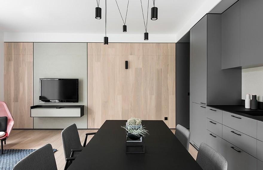 AKTA Design | Kraziu Apartment,Complemented with Contrasting Black Elements
